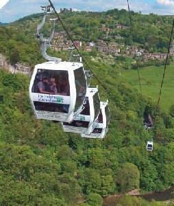 The cable cars to the Heights of Abraham high above the Derwent Valley and the A6.