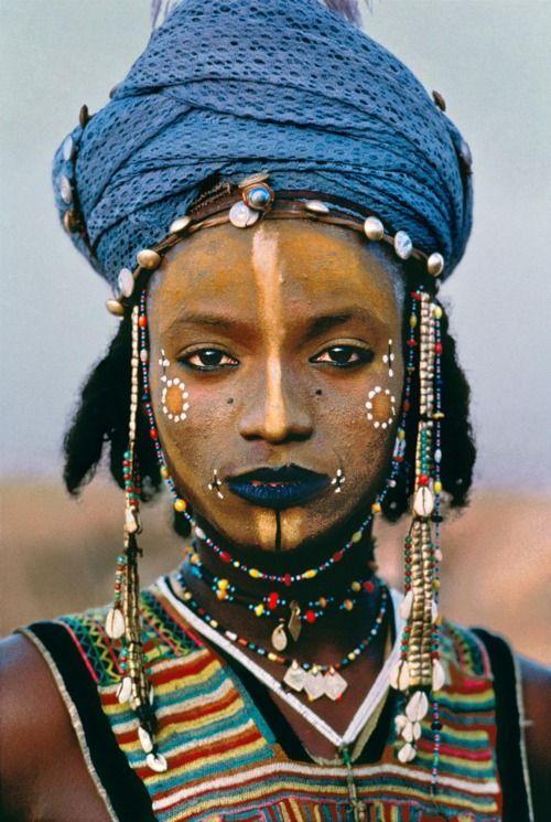 traditional african tribal make up (fulani/peul)