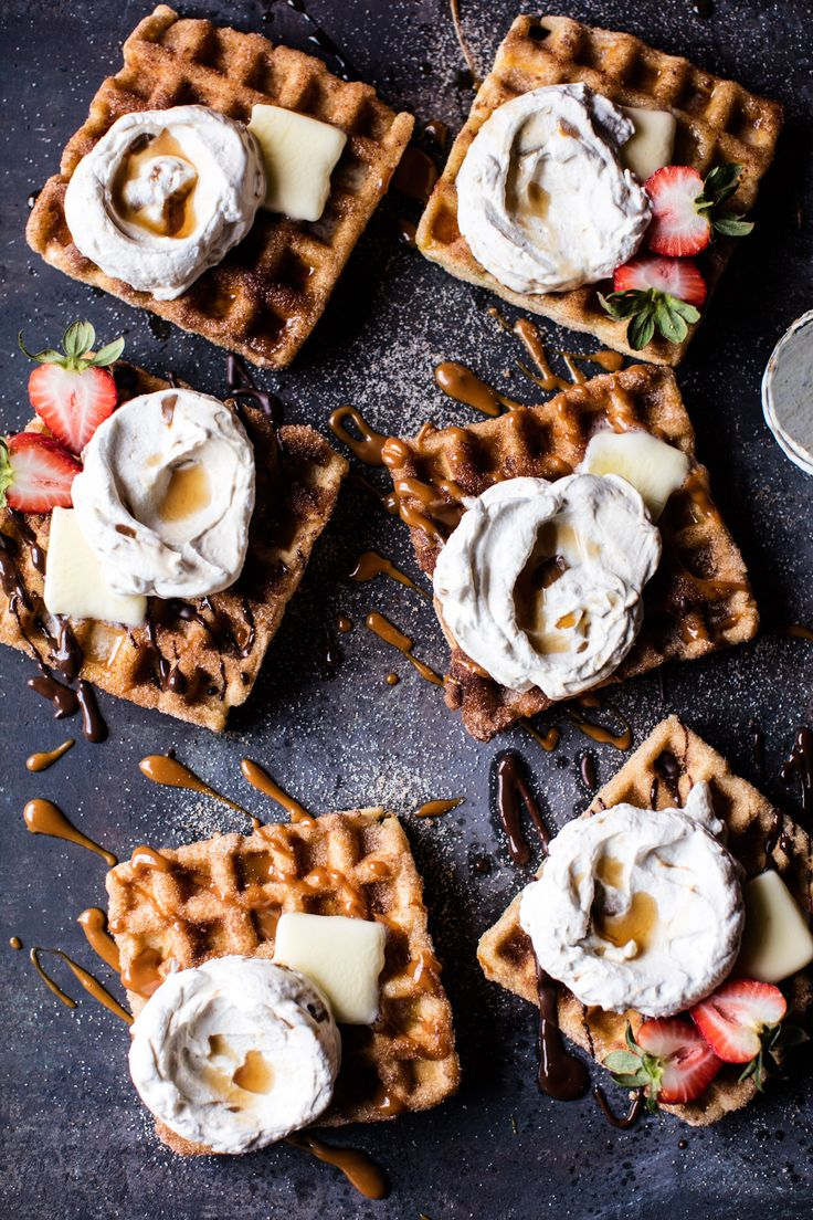 Churro Waffles- toppings make these waffles even better than the original. Kickstart your weekend with these simple yummy waffles! From halfbakedharvest.com