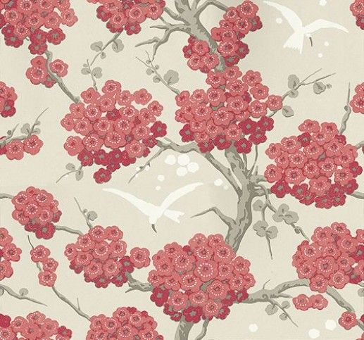 Japonerie (W6590-05) - Osborne & Little Wallpapers - An elegant all over wallpaper design, featuring trailing oriental blossom with birds in full flight. Shown here in  red, linen, taupe and ivory. Other colourways are available. Please request a sample for a true colour match. Wide width.