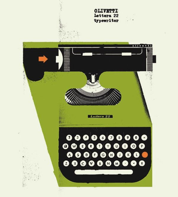 olivetti typewriter illustration