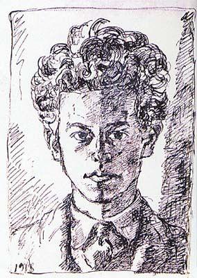 Alberto Giacometti  Self-Portrait  1918  pen and ink on paper