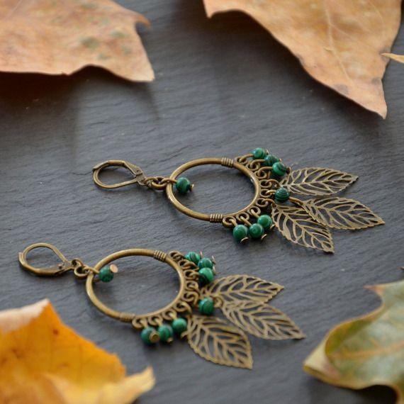 Boucles d'oreilles vert bronze connecteurs créoles bohème métal