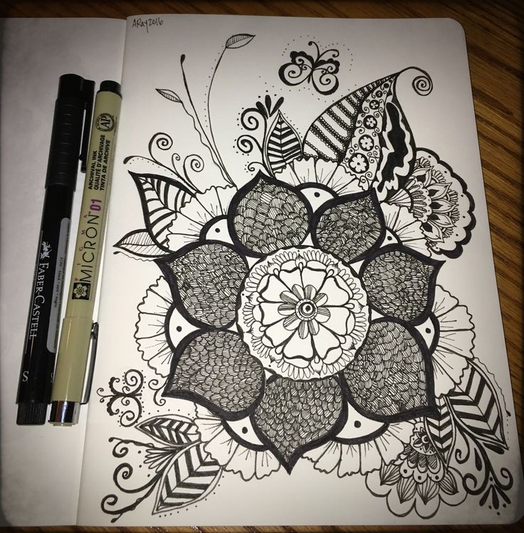 #zentangle #mandala #flower #inspired by Art Geek. By Amy Raymond #doodle #sharpie #floral #inkart #micron #blackink
