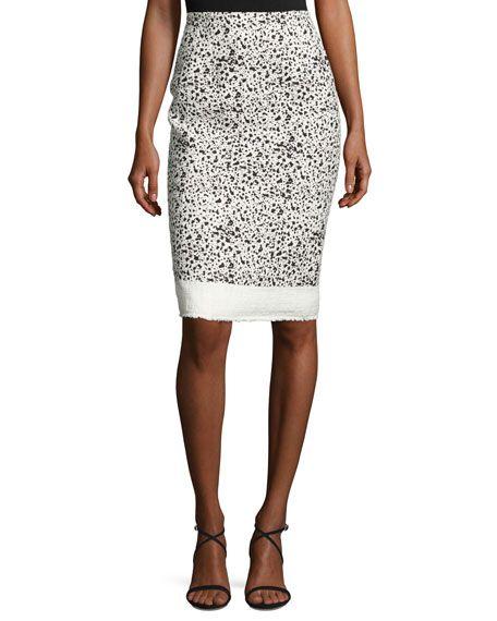 8aa15d0778 CAROLINA HERRERA Splatter-Print Pencil Skirt, Black Pattern. # carolinaherrera #cloth #