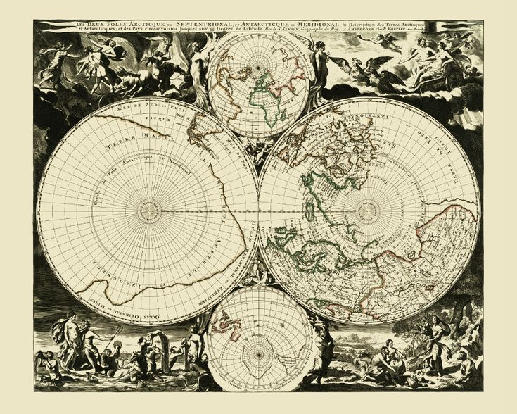 Fantasizing about the Earth's Poles. Map of the Polar Regions, 1690. #map #northpole #southpole #polenord #polesud #arctic #antarctica #arctique #antarctique #carte #ancienne #map #antique #vintage #historical #old