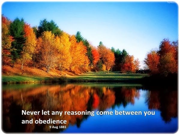 Never let any reasoning come between you and obedience