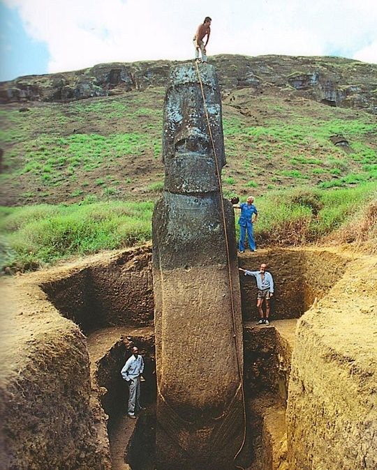 Full unearthed statue of Easter Island head --- why has this not happened sooner?