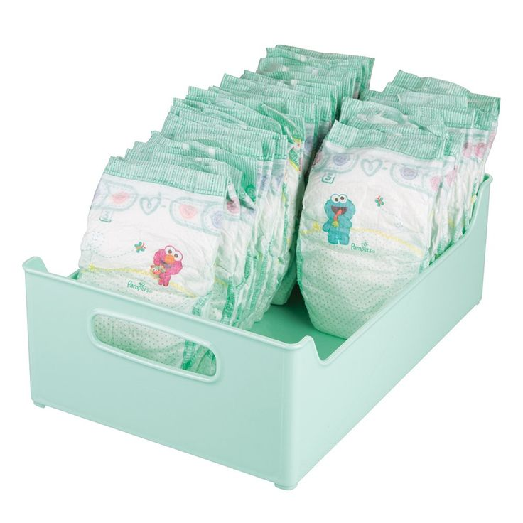 "mDesign Baby Nursery Storage Organizer Bin for Diapers, Food Pouches, Formula - 10"" x 5"" x 14"", Light Mint. Baby storage organizer bin for use in the nursery, changing station or baby room. Stores a variety of baby essentials including diapers, medicine, nasal aspirators, thermometers, brushes and combs, washcloths, powder, ointment, wipes and more; Also great in the pantry for formula, breastmilk storage bags and food pouches. Features built-in handles for easy transport even when your..."