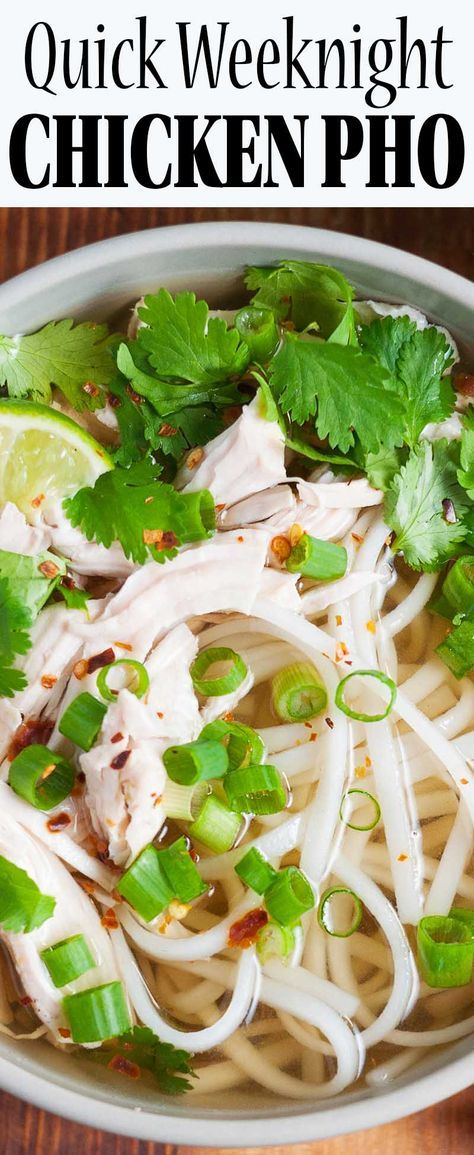 Chicken Pho! 30-minutes EASY shortcut version of traditional Vietnamese noodle soup. Gluten-free.