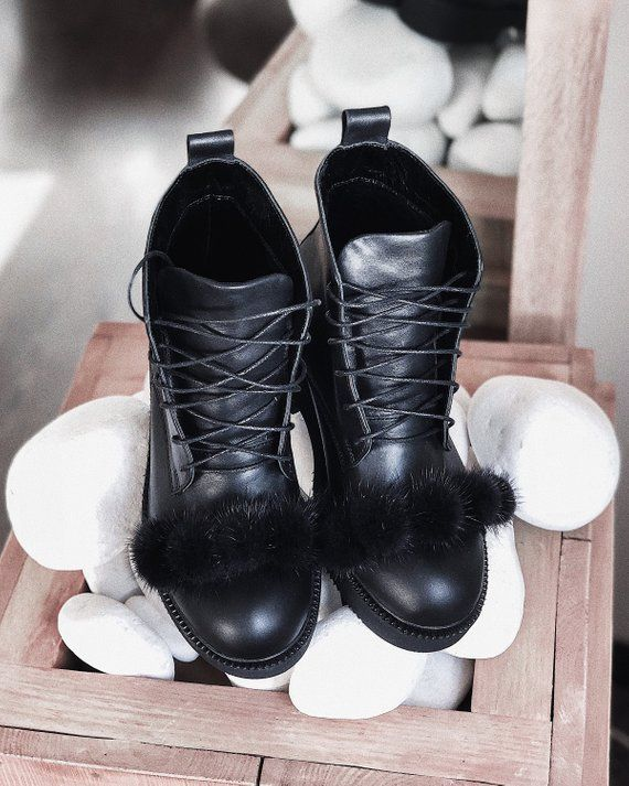 Black leather combat boots for womens