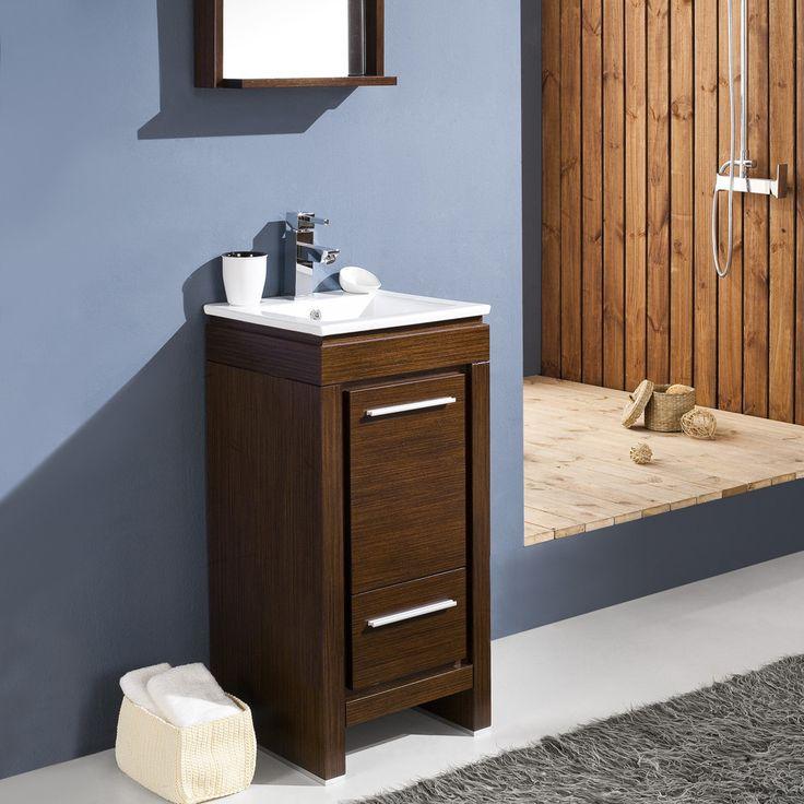 "Fresca Allier 16"" Wenge Brown Modern Bathroom Vanity w/ Mirror"