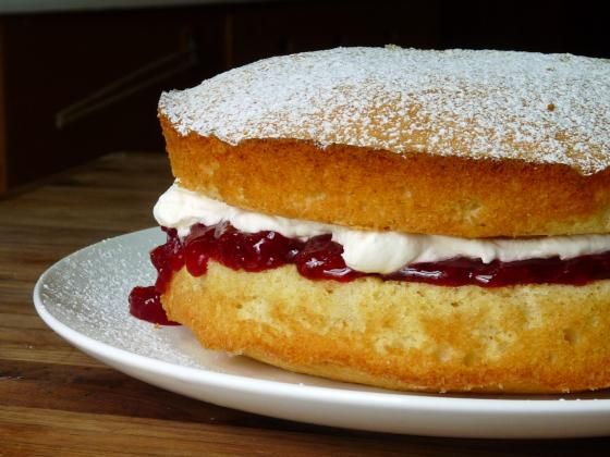 Classic Victoria Sponge Cake (like the U.S. pound cake) is a pound of everything.It sticks in your mind, and it's easy to make.   1lb butter (four sticks)  1lb sugar (2¼ cups)  1lb eggs (eight US large)  1lb self-raising flour (3½ cups)