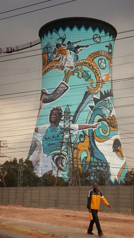 Best clor painting of one of Orlando Tower in #sowetotownship