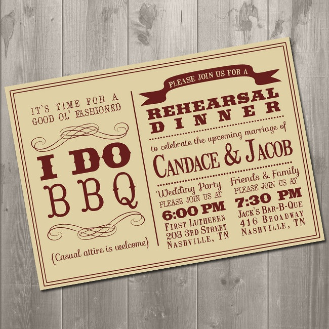 I DO BBQ Wedding Rehearsal Dinner by SimplySmittenDesigns on Etsy ..would LOVEEEE to have my wedding in Nashville...and the rehearsal dinner at Jacks BBQ! :) YUM!