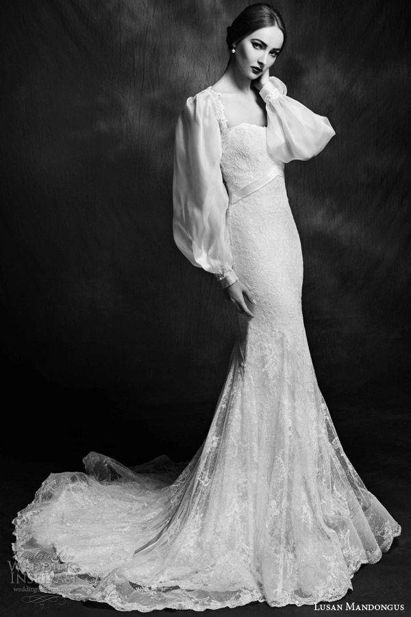 lusan mandongus bridal 2015 wedding dress long puff sleeves style lm2837b