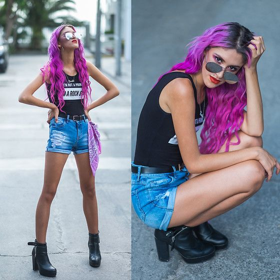 Get this look: http://lb.nu/look/8612271  More looks by Andrea Chavez: http://lb.nu/delilacblog  Items in this look:  Speakers  I'm Not A Princess Suit, H&M Botines, Speakers  Denim Shorts   #edgy #grunge #street #blacktee #allblack #streetstyle #artistic #90s #summer