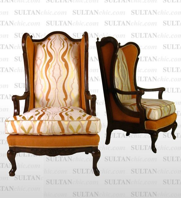 All upholstered furniture pieces featured here are one of a kind creations of artisan designer Albert Leon Sultan founder of WWW.SULTANCHIC.COM Please inquire if you'd like to purchase any piece featured here or to hire Albert to design your home.  #midcentury #retro #vintage #upholstery #wingchair #upcycle #couture #furniture #art #design #interiordesign #home #love #flower #pastel #sultanchic #chic #fashion #highback #orange