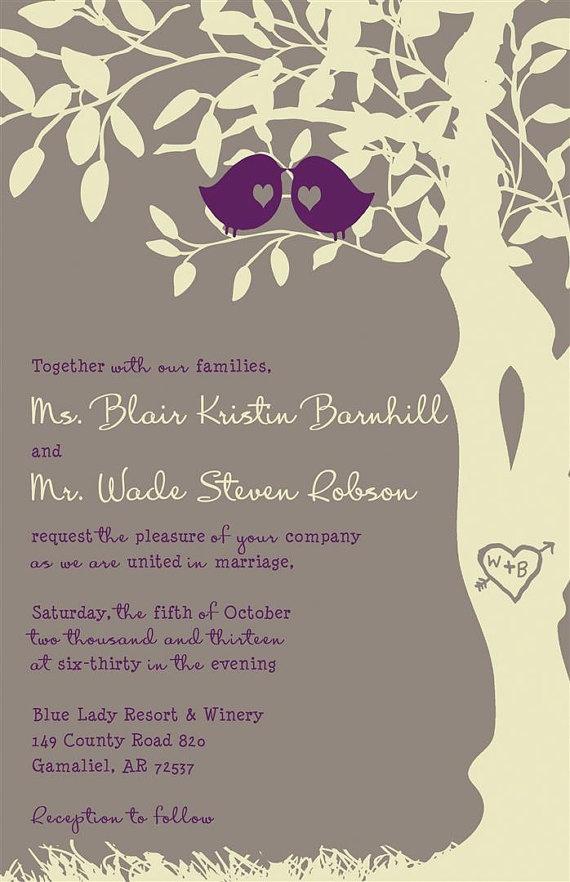 custom love birds wedding invitations gray and purple - Love Birds Wedding Invitations