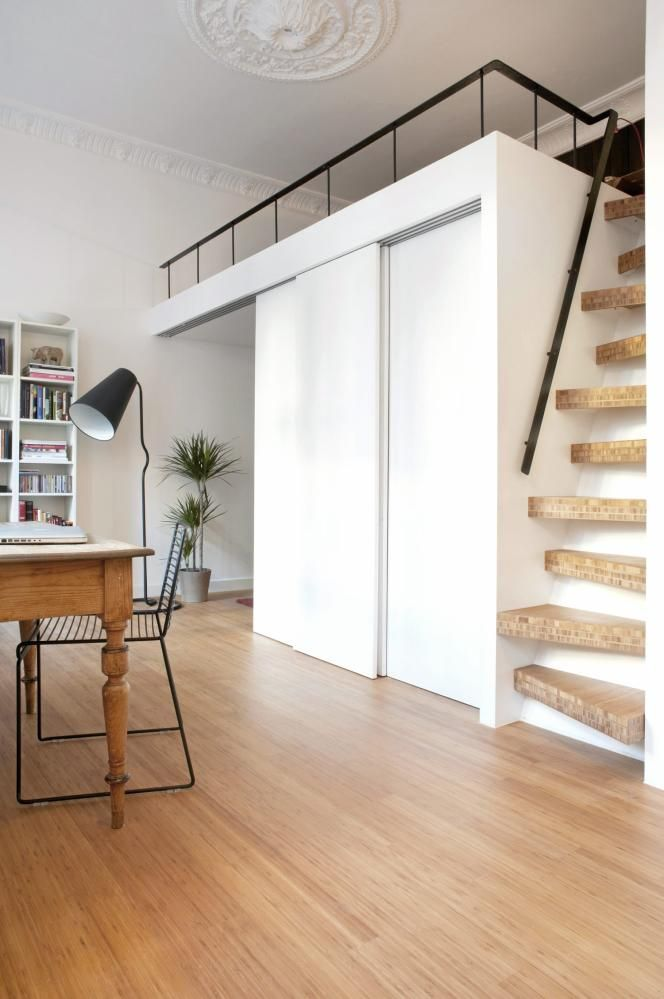 The 25 best loft stairs ideas on pinterest ladder to loft small space stairs and small loft - Mezzanine bedlamp ...