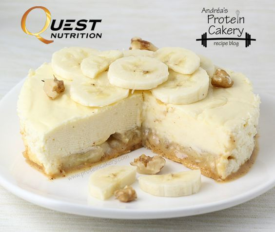 Prot: 13 g, Carbs: 15 g, Fat: 10 g, Cal: 200 Do you have a Banana Nut Muffin Quest Bar on hand? Treat yourself to this delicious Banana Nut Protein Cheesecake! Protein cheesecakes are some of my favorite desserts to make because they often taste so