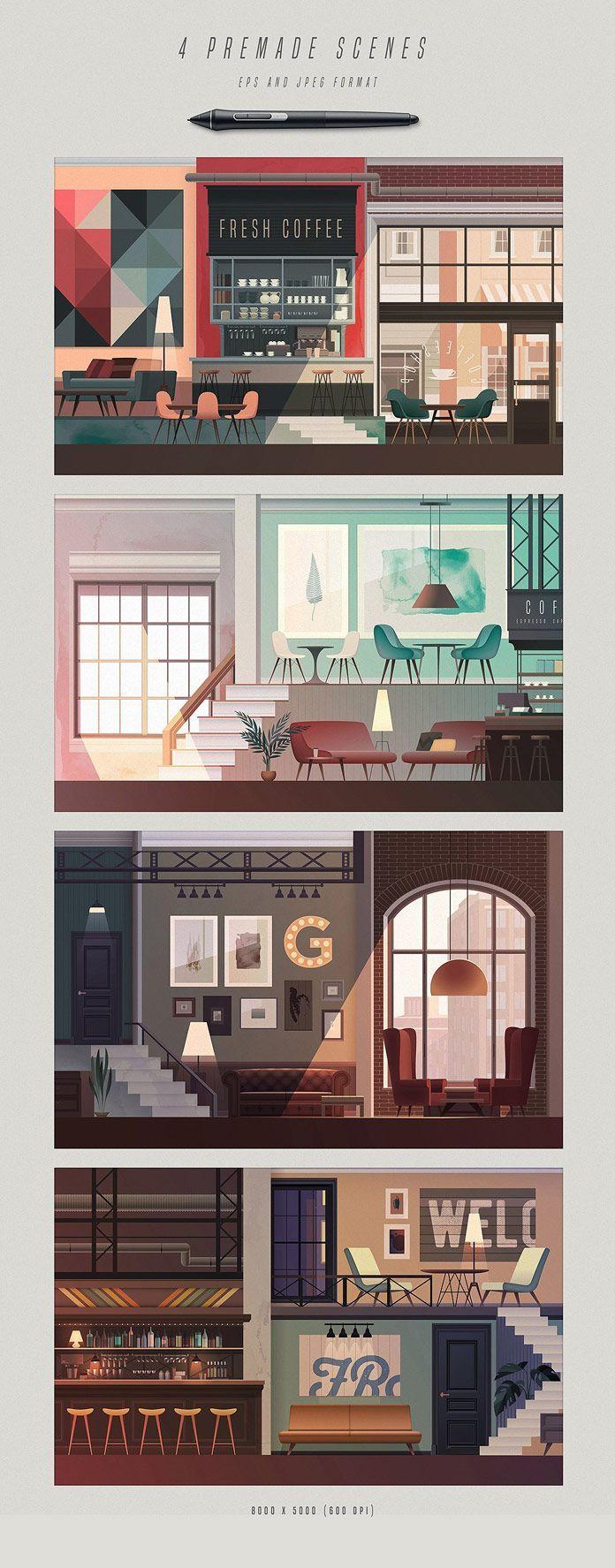 Illustrated Interior Scene Creator – #creator #Ill…
