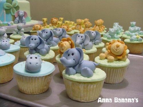 anna banana's cakeshop - birthday - birthday cupcakes - safari cupcakes - hippo cupcakes, elephant cupcakes & lion cupcakes
