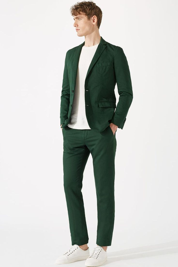 "Summer suit season has arrived, and if you don't want to boil, it's time to look for something a little lighter and possibly a little brighter too. Enter Jigsaw's buggy-lined, Italian cotton-linen mix suit in a standout shade of forest green - a surprisingly versatile alternative to navy for any upcoming summer weddings.  [note]Jacket, £249. Trousers, £110. [link url=""http://www.jigsaw-online.com/product/italian-cotton-linen-garment-dye-jacket/J34190_GN005""]jigsaw-online.com[/link][/note]"