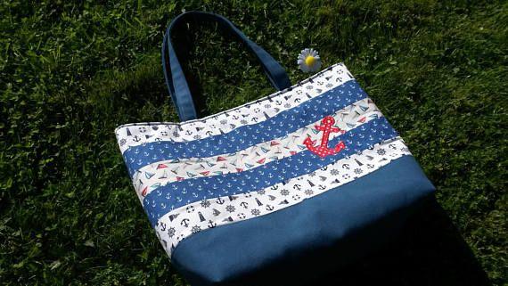 Summer tote bag nautical beach bag patchwork bag summer