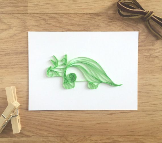 Quilling papier Triceratops dinosaure Home par ThePaperyCraftery