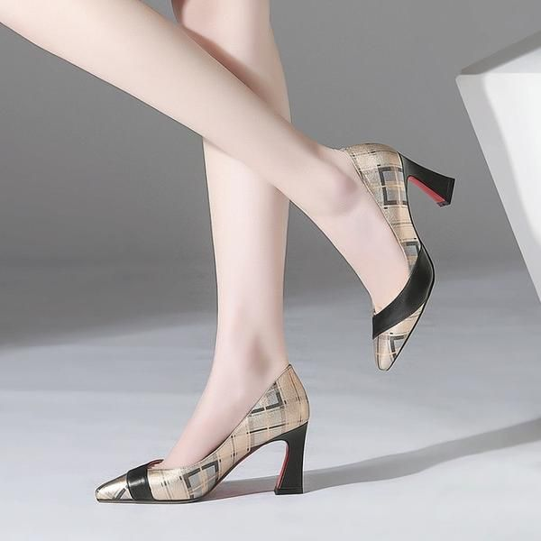 High End Leather Pointed Toe Heel Multi