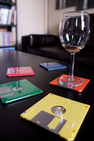 upcycled floppy disk coasters