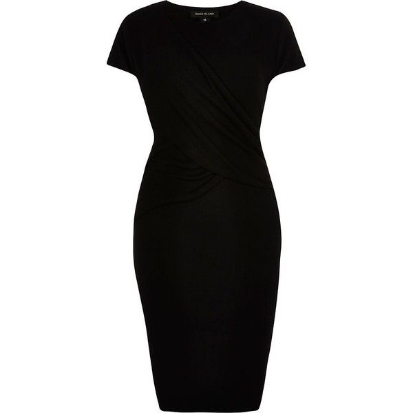 River Island RI Plus black ruched bodycon dress (420 ARS) ❤ liked on Polyvore featuring dresses, sale, plus size body con dresses, plus size bodycon dress, crew neck dress, ruched dress and womens plus dresses