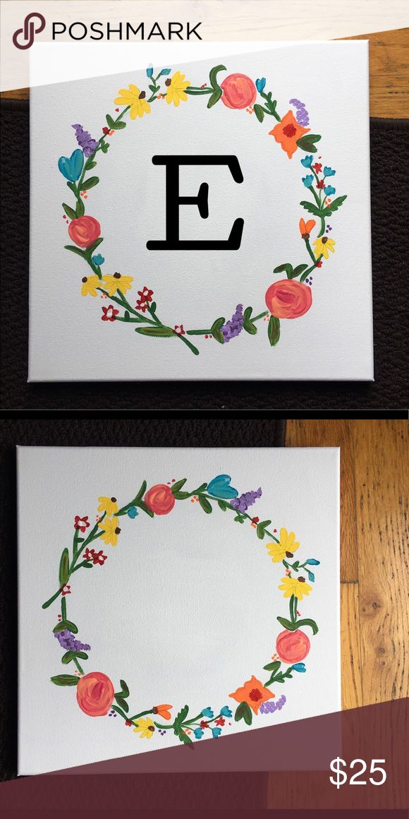 Floral Monogrammed Canvas Floral wreath monogram canvas | 12x12 | HANDMADE WITH LOVE❤ | Ordering Details: Please tell me what letter you want and also the color Other