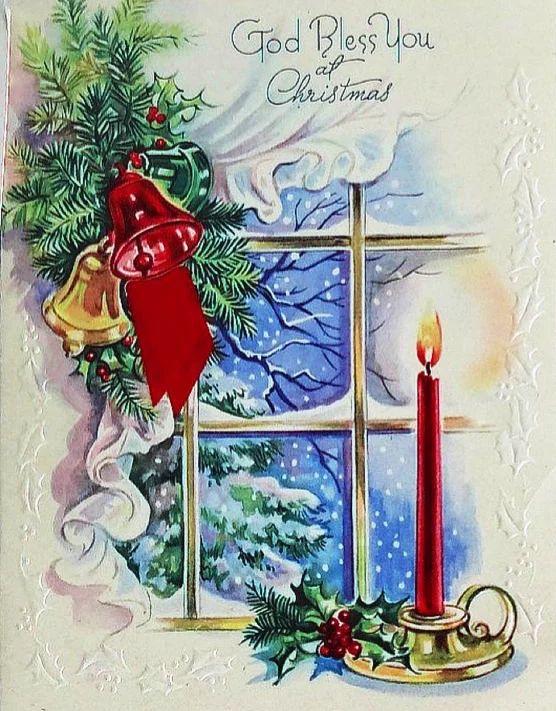 Рождественская открытка - зима за окном, горящая свеча, колокольчики