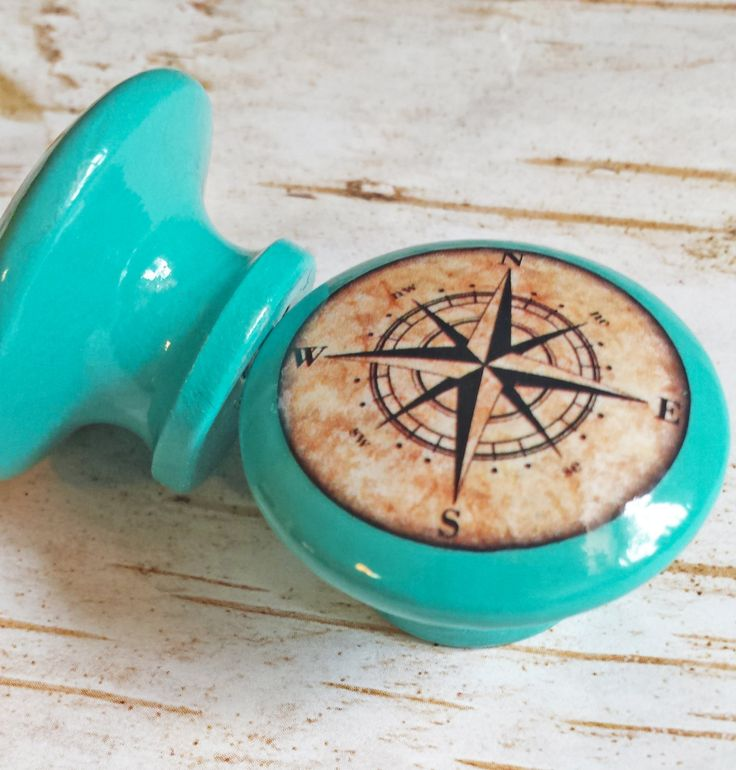 """Nautical Knobs, Aqua Blue Handmade Drawer Pulls, Antique Style Compass Cabinet Pull Handles, 1.5"""" Sea Dresser Knobs, Made To Order by SRVintageandDesigns on Etsy"""