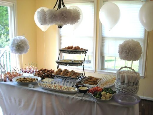 All White Bridal Wedding Shower Party Ideas