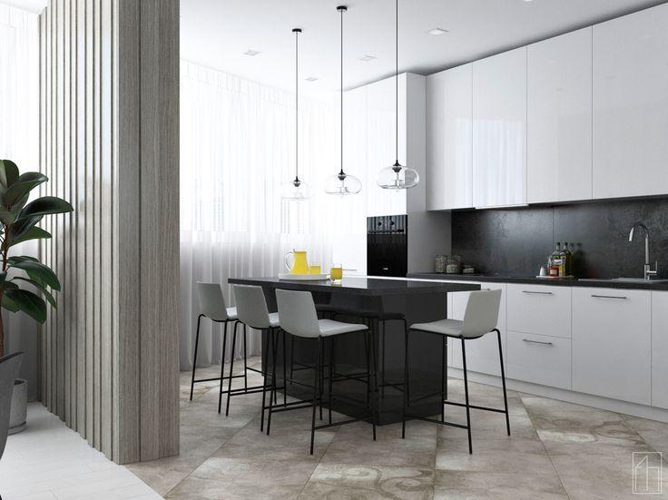 """Проект квартиры """"Quite Music"""".Выполнен для молодой семьи,которая ценит хорошую музыку и уют. Общая площадь- 105,7 м.кв. Кухня в современном стиле.(Ракурс №2)"""