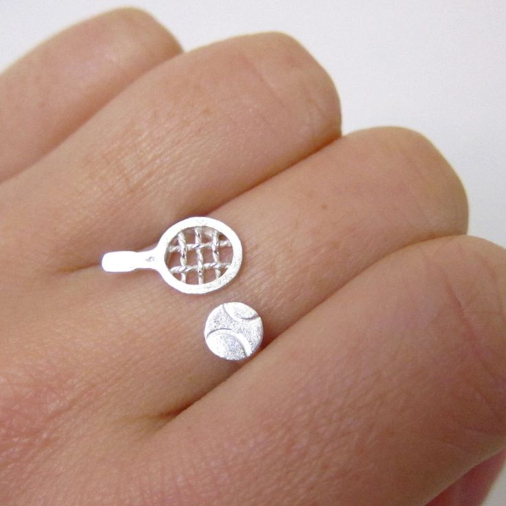 Tennis Racket & Tennis Ball Silver Ring - Handmade silver ring for Sport lovers | Smiling-SilverSmith $59Handmade Silver Rings & Jewelry