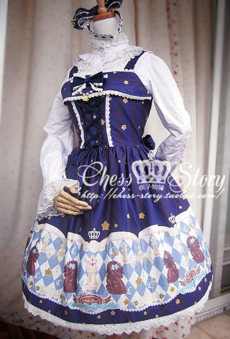 $72 ~ Chess Story JSK, Headbow, Bonnet & Socks Set ~ Chess Story ~ Comes in Blue and Red...Love both colorways! <3