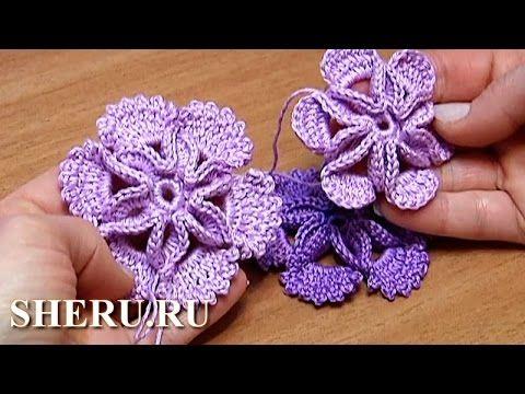 Crochet 3D Flower Tutorial 7 Как вязать крючком Цветок с ажурными лепестками - YouTube
