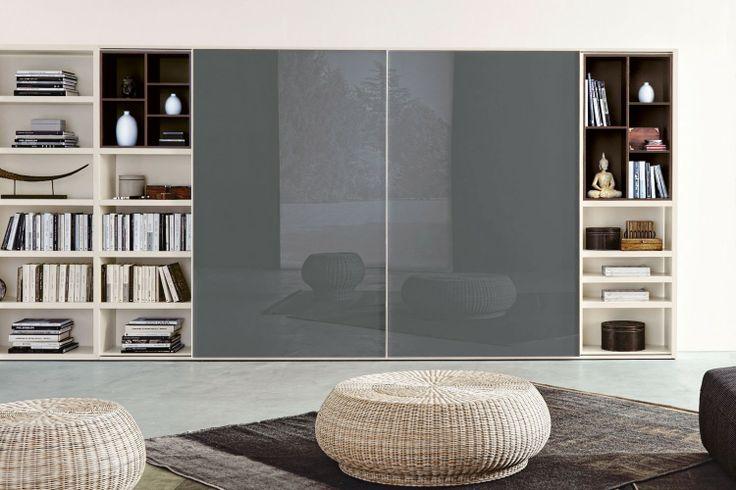 Libreria Angolare per Soggiorno 556 con ante scorrevoli in vetro verniciato grigio piombo | Napol.it