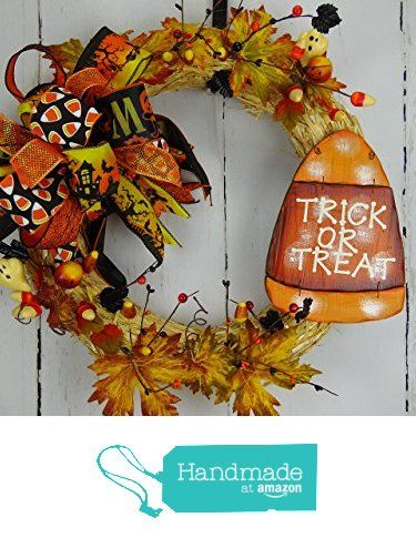 Candy Corn Wreath, Candy Corn Straw Wreath, Fall Candy Cane Wreath, Trick Or…