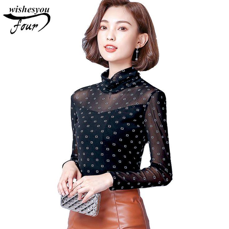 2017 new fashion thread yarn sexy women bottoming shirt long sleeve wild self-cultivation high collar shirt TOP blusas 938B 30 #Affiliate