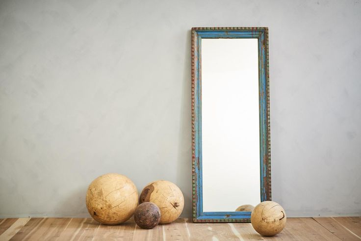 This floor mirror or wall mirror with a frame made from reclaimed bed rails, will be the perfect anchor to your Moroccan decor or Mediterranean space. As an accent for a stairway landing, a grand bathroom piece, a salon station mirror or used in a retail setting, the rich blue and red colors o