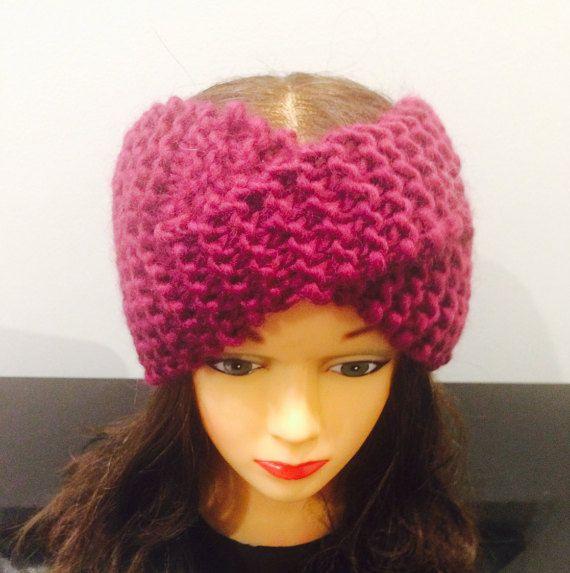 Chunky Twisted Knit Turban, Wool Turban, Knit Headband, Knit Earwarmer, Handmade Knit Turban