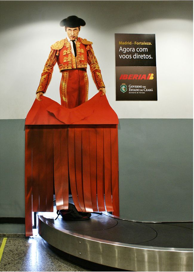 Ad for Spanish Airline Iberia / baggage carousel and matador. Very clever advertising of direct flights from a not-so-big brazillian town to Madrid. www.arcreactions.com