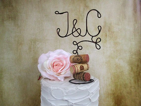 Vineyard Vintage Wedding Cake Topper with Your Initials and Corks Base - for the Wine Lovers - Vineyard Wedding, Rustic Wedding