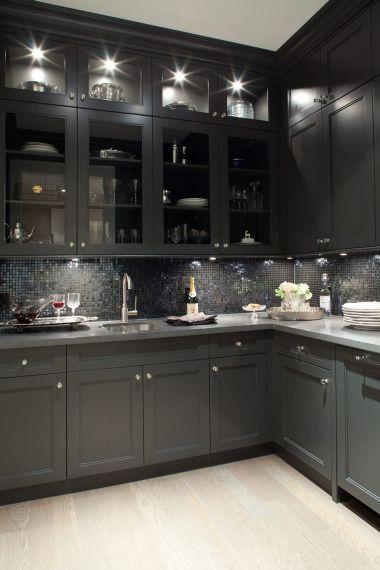 Gorgeous black kitchen design with oak wood floors, black shaker ...