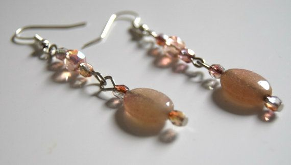Nude earrings Dust pink earrings Romantic earrings by honeyscorner